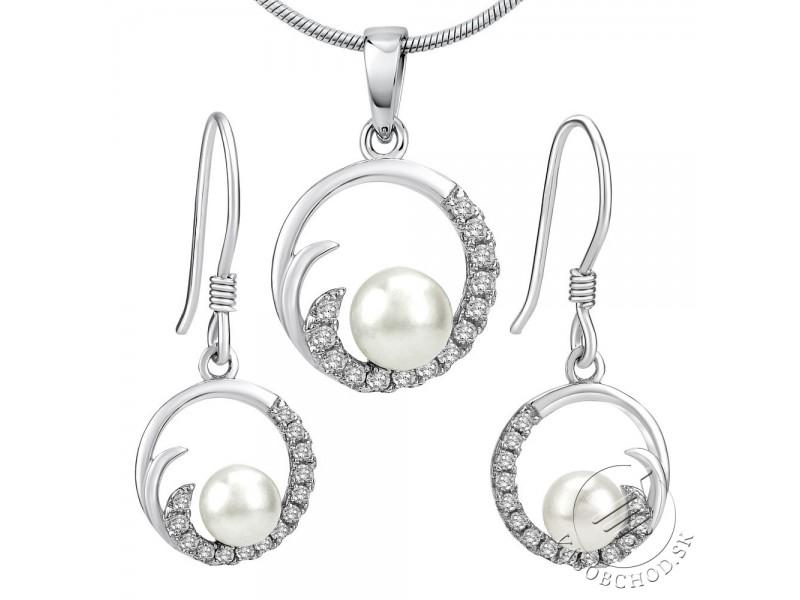 688f21352 VIVA strieborná perlová súprava šperkov prívesok a náušnice JJJS0949 ...
