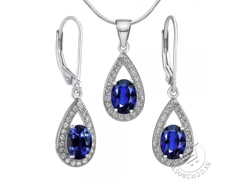2d54e6009 Set strieborných šperkov VEGA náušnice a prívesok so syntetickým Zafírom ...
