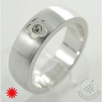 Oceľový prsteň so zirkónom - 232662B