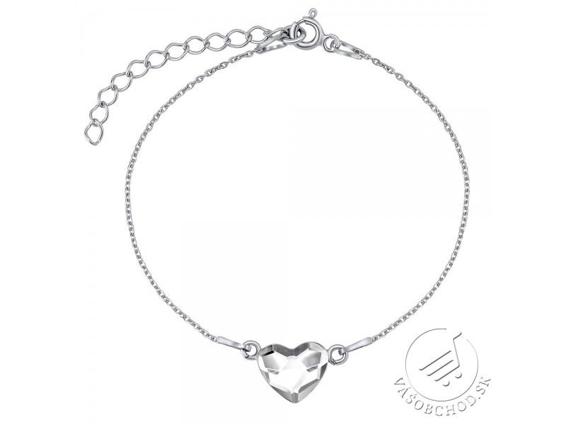 e912fe2a3 ... Strieborný náramok so Swarovski® Crystals srdce číre - VSW061CB ...