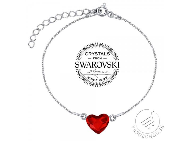 f90f7bfc8 Strieborný náramok so Swarovski® Crystals srdce červené - VSW063RB ...