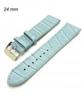 Bledomodrý kožený remienok na hodinky šírka 24 mm