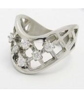 Oceľový prsteň so zirkónmi 233281A