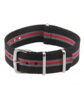 Čierno-šedo-červený textilný remienok 20 mm 210566CSC