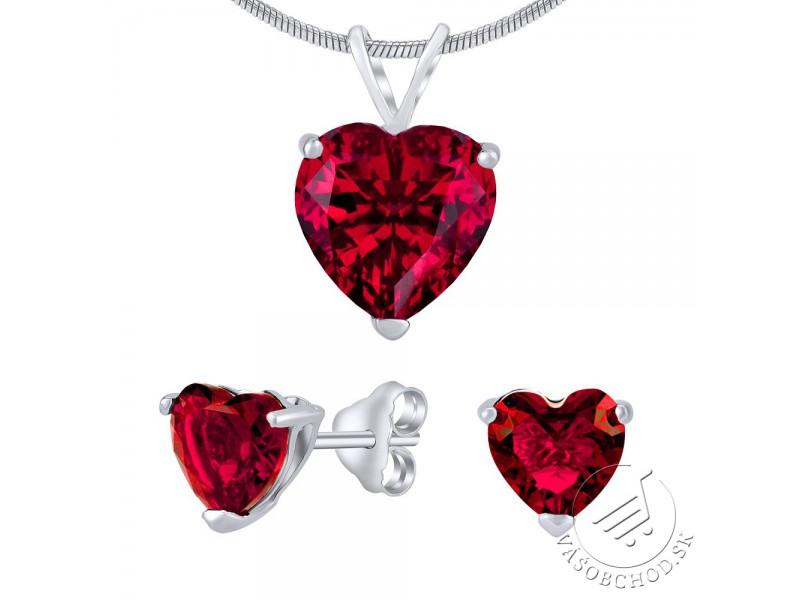 31890bcc8 Strieborný set šperkov červené SRDCE krištáľ - náušnice a prívesok ...