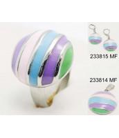 Oceľový prsteň s farebným smaltom - 233840A