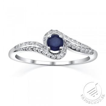 Strieborný prsteň IDONEA s prírodným Zafírom FNJR016sa