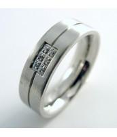 Oceľový prsteň so zirkónmi 230769B