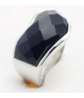 Oceľový prsteň s čiernym kamienkom - 233849A