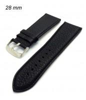 Čierny kožený remienok šírka 28 mm - na hodinky