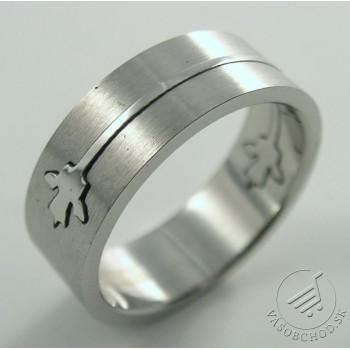 Oceľový prsteň s motívom listu - 232732B