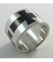 Oceľový prsteň kríž 232460A