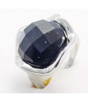 Oceľový prsteň s tmavým kameňom - 233720A