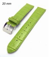 Zelený kožený remienok na hodinky 20 mm