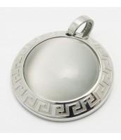 Prívesok z ocele so šedým kameňom 233442S