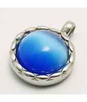Oceľový prívesok s modrým kameňom 233509M
