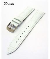 Biely kožený remienok šírka 20 mm - na hodinky