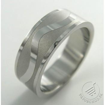 Oceľový prsteň - vlnka - 232526A