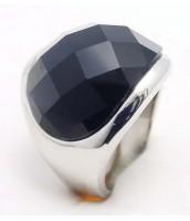 Oceľový prsteň s čiernym kameňom - 233851A