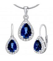 Strieborný set šperkov MONACO náušnice a prívesok so syntetickým Zafírom - LPS0341BS