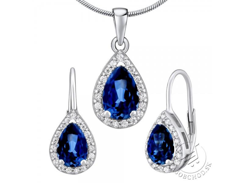5dd565586 Strieborný set šperkov MONACO náušnice a prívesok so syntetickým Zafírom ...