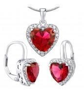 Strieborný set šperkov ROMANCE náušnice a prívesok srdce - LPS0629ER