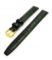 čierny kožený remienok šírka 16 mm - zlatá pracka