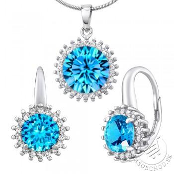 Strieborný set šperkov ADIRA náušnice a prívesok so syntetickým Topásom - LPS0754BT