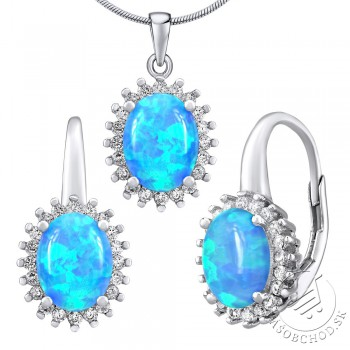 Strieborný opálový set šperkov ORIANA náušnice a prívesok srdce - LPSPS1368B