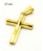 Prívesok z ocele kríž 27mm - zlátený 240338