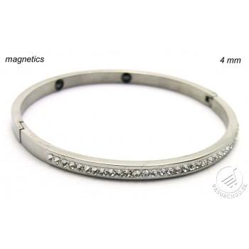 Oceľový náramok so zirkónmi a magnetmi 238874