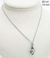 Oceľový náhrdelník s príveskom s čírym zirkónom 239424