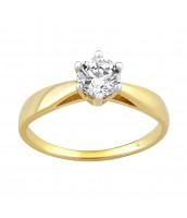 Zlatý zásnubný prsteň AIREL s čírym zirkónom - QRY185