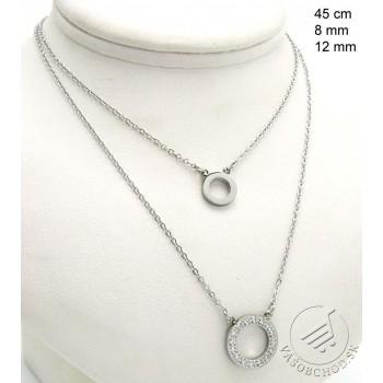 Oceľový náhrdelník s kruhovými príveskami 239479