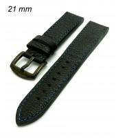 Čierny kožený remienok 21mm modrá niť