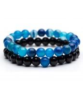Set náramkov z modrého Achátu a čierneho Onyxu 2 ks - ET0773