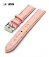 Ružový kožený remienok 20 mm