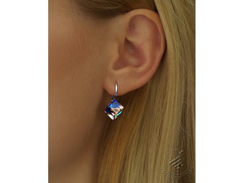 Strieborné náušnice kocky s krištálom Swarovski® Crystals BERMUDA ... 794ccf83f87