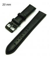 Čierny kožený remienok na hodinky šírka 20 mm