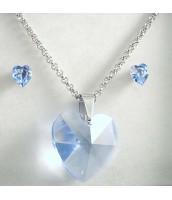 Oceľová súprava šperkov SRDCE s krištáľom 291014BM
