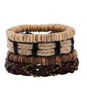 Náramkový set z kože, kokosových korálok a jutoviny - ET0781
