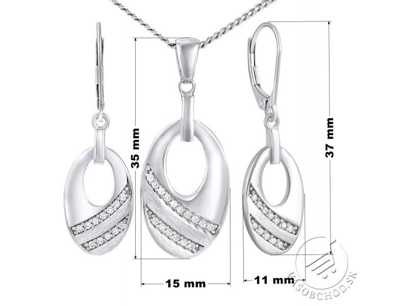 8e23aa7cd Strieborná súprava šperkov so zirkónmi - náušnice a prívesok ...