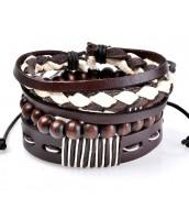 Náramkový set z kože a drevených korálok - ET0786