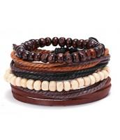 Náramkový set z kože a drevených korálok - ET0788