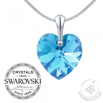 0c0a177c3 Strieborný prívesok Srdce Aquamarine AB 18mm so Swarovski® Crystals -  LSW015P