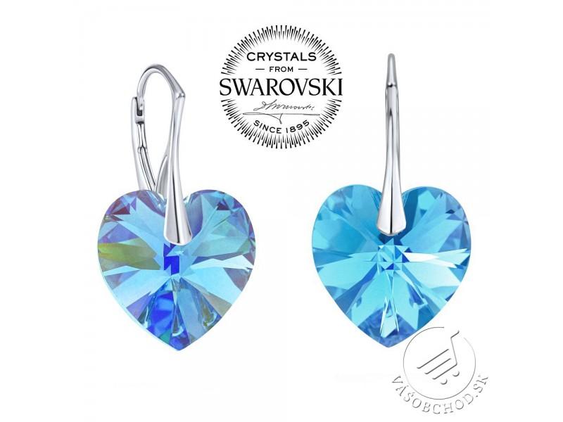 Strieborné náušnice Srdce 18mm Aquamarine AB s Swarovski® Crystals -  LSW015E ... c92b9aca43d