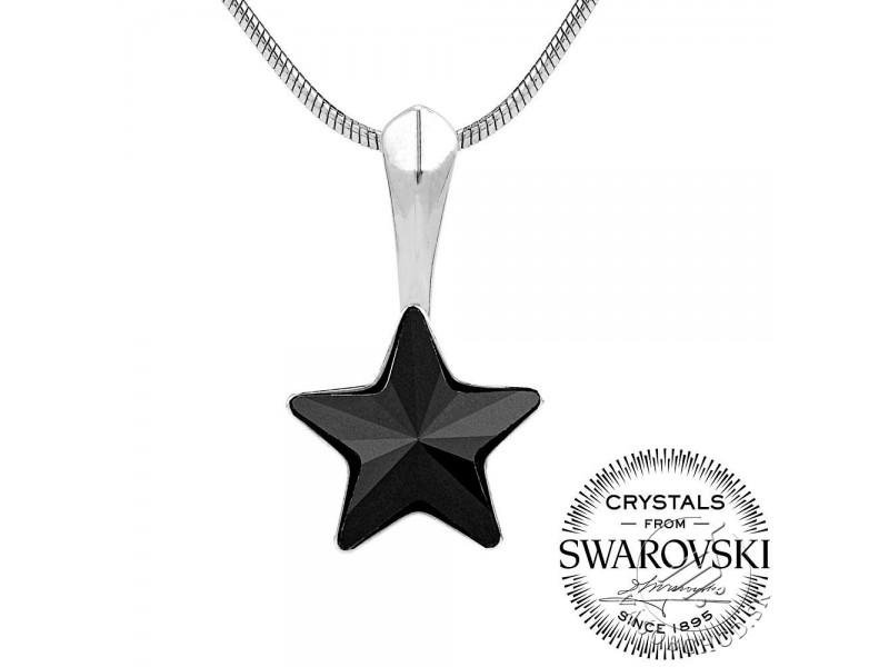Strieborný prívesok čierna hviezda s Swarovski® Crystals - VSW038P ... b96128c715f