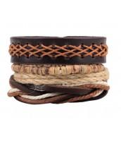 Náramkový set z kože, kokosových korálok a jutoviny - ET0790