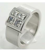 Oceľový prsteň so zirkónmi - matný - 230898B