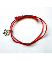 Červený, šnúrkový náramok - štvorlístok - ET0930